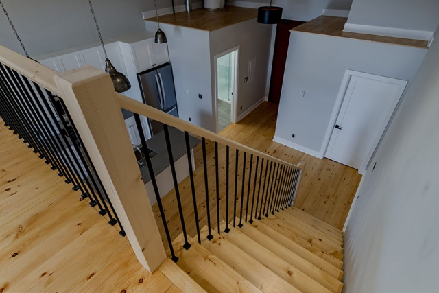 Stairs with open railing